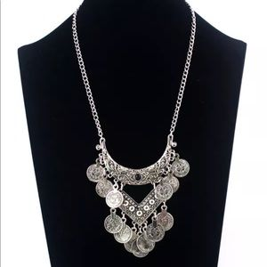 ✨Boho Silver Coin Statement Necklace✨